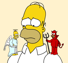 A still from The Simpsons: Homer Simpson (middle-aged male cartoon character) with an angel version of himself on one shoulder and a devil version of himself on the other.